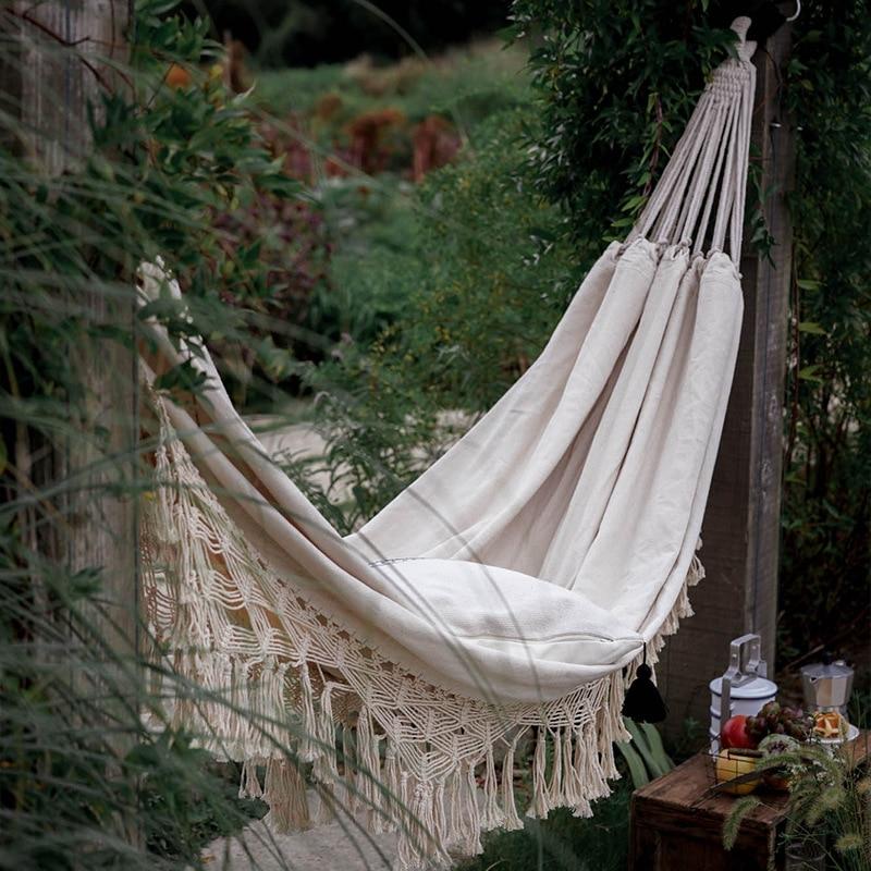 Double Boho Tassel Nest Hammock Swing Chair Outdoor/Indoor Picnic Garden Macrame Brazilian Hammock Hanging Net Chair Swings(China)