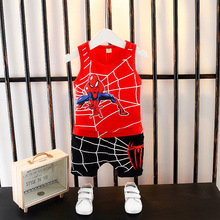The new children's clothing han edition summer boy 2019 two-piece suit children cartoon giant spider vest цена в Москве и Питере