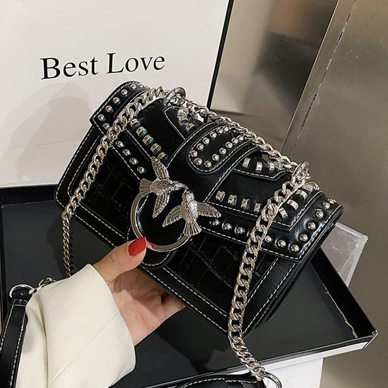 Swallow Sequined Crossbody Bag for Women 2020 New Fashion Rivet Shoulder Chain Bags Lady Purses and Handbags Wallet on Chain Cc|Shoulder Bags| - AliExpress