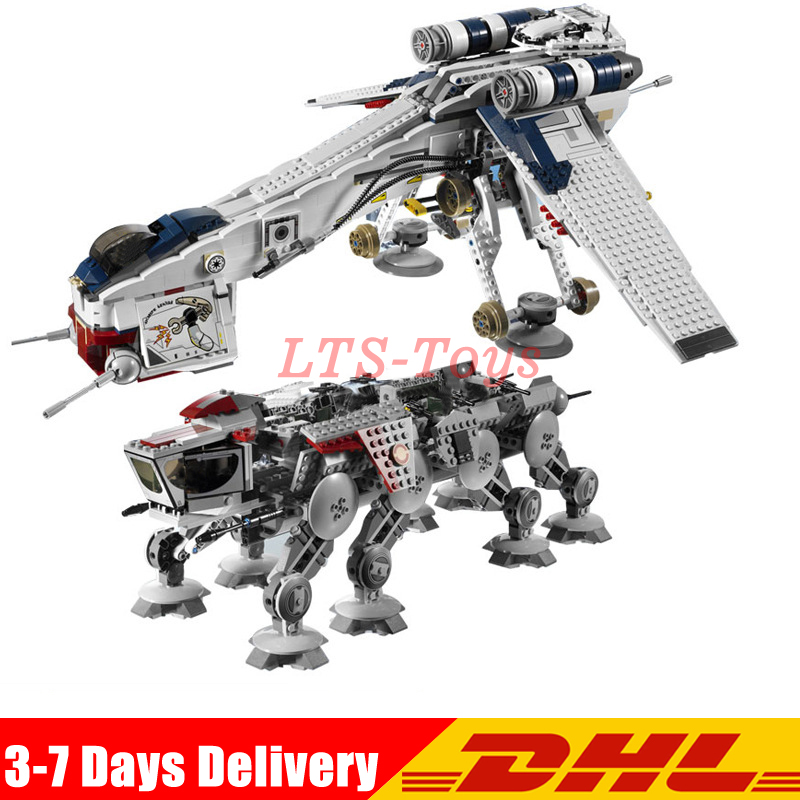 DHL 1788Pcs Star Was The Republic Dropship with AT-OT Walker Set Building Blocks Bricks Toys Compatible Legoinglys <font><b>10195</b></font> 05053 image
