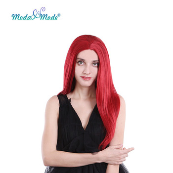 """Moda & Mode hair 24"""" Red Long Silk Straight Synthetic Lace Front Wig Blonde Daily Lace Wigs Natural Hairline for women Dailywig"""