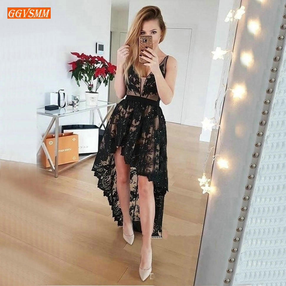 Sexy Boho Black V Neck   Prom     Dresses   Customized Sleeveless Hi Lo Lace Women Formal   Dress   Short Banquet Guest Beach Evening Gowns