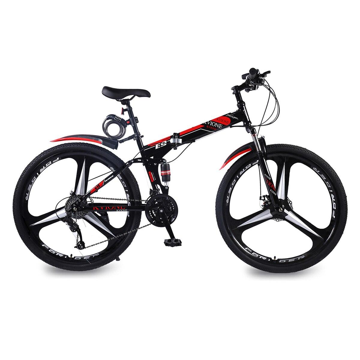 KVIONE E9 29 Inches 27 Speed Mountain Bike For Men And Women  MTB Mountain Bicycle High-carbon Steel  Disc Brake Folding Bike
