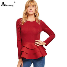 Plus size 2xl 2019 Women New Autumn Solid Red Tops Long Sleeve Laminated ruffle Hem Female T-Shirt Casual Slim Ladies Tee Shirt plus knot hem sequin red lip t shirt