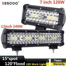 Esskoo listwa LED światło dla samochodów Spot Flood światło wiązki 120W 240W 4x4 Spot 12V 24V Offroad reflektor dla SUV ATV łodzie