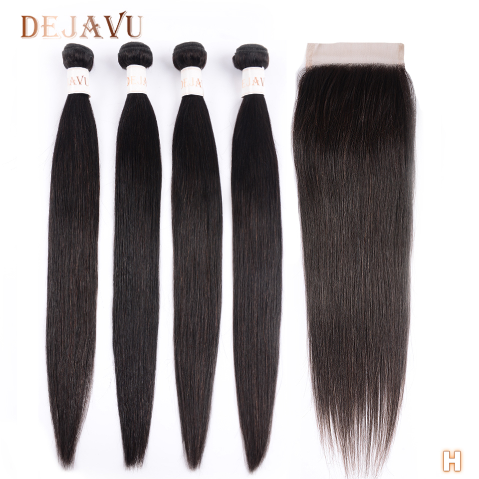Dejavu Straight Hair Bundles With Closure Brazillian Hair 4 Bundles With Closure Non-Remy Lace Closure Human Hair With Bundles