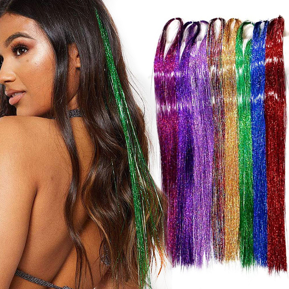 100cm 150Strands/pcs Sparkle Hair Tinsel Bling Hair Secoration For Synthetic Hair Extension Glitter Rainbow For Girls And Party