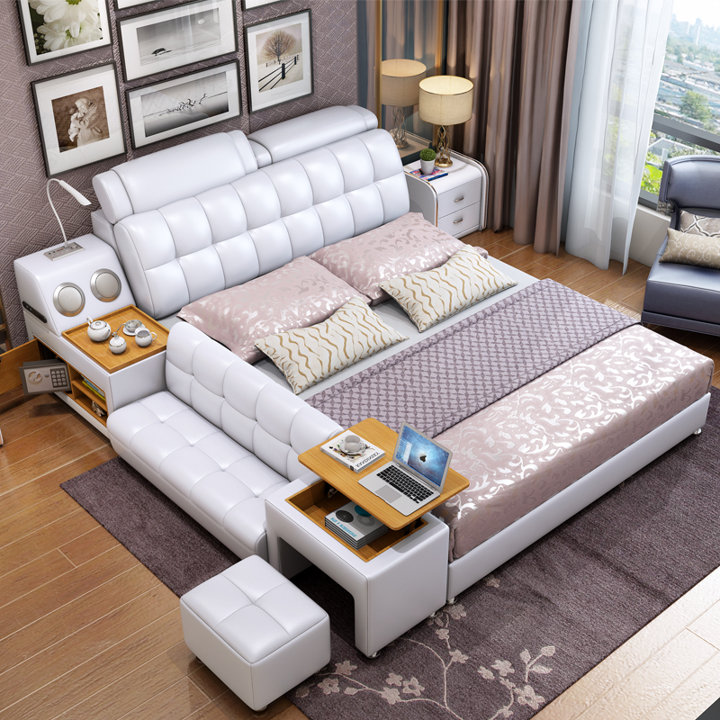 White Leather King Size Storage Bed
