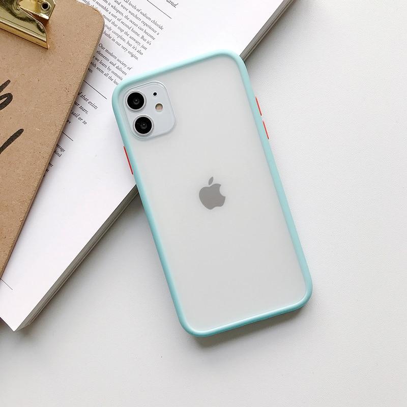 Прозрачный противоударный чехол для телефона для iPhone 11 Pro X XR XS Max 6 6s 7 8 Plus, чехол-бампер, силиконовая матовая прозрачная задняя крышка - Цвет: J
