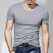 Camiseta de manga corta con cuello redondo para hombre, camiseta de color puro con cuello de pico y Media manga, cultiva la moralidad, ajustada