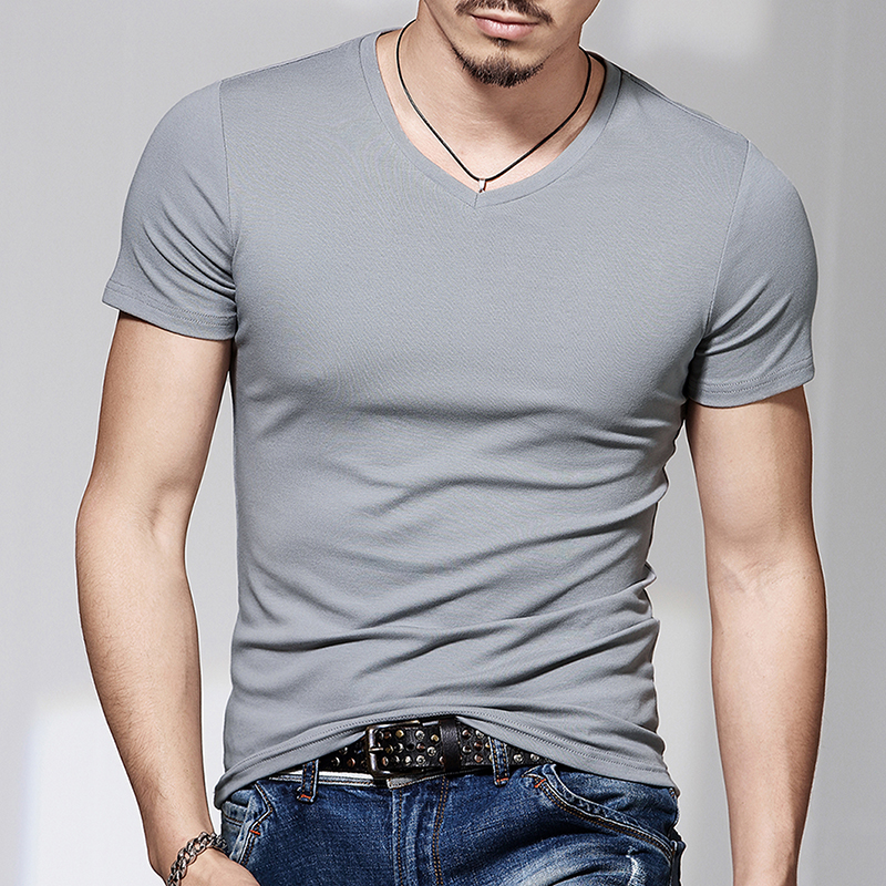 New Men Round Collar Short Sleeve T-shirt V-neck Pure Color T-shirt And A Half Sleeve T-shirt Cultivate One's Morality Is Tight