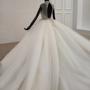 Image 5 - HTL1285 2020 クリスタルウェディングドレス女性ノースリーブビーズハイネック高級白ウェディングドレスの花嫁ドレス新