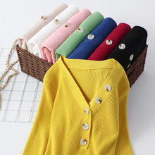 Mooirue Autumn Thin Kintting Tops Slim Button Patchwork Pullovers Vintage Candy Colors V Neck Casual Basic Korean Sweater