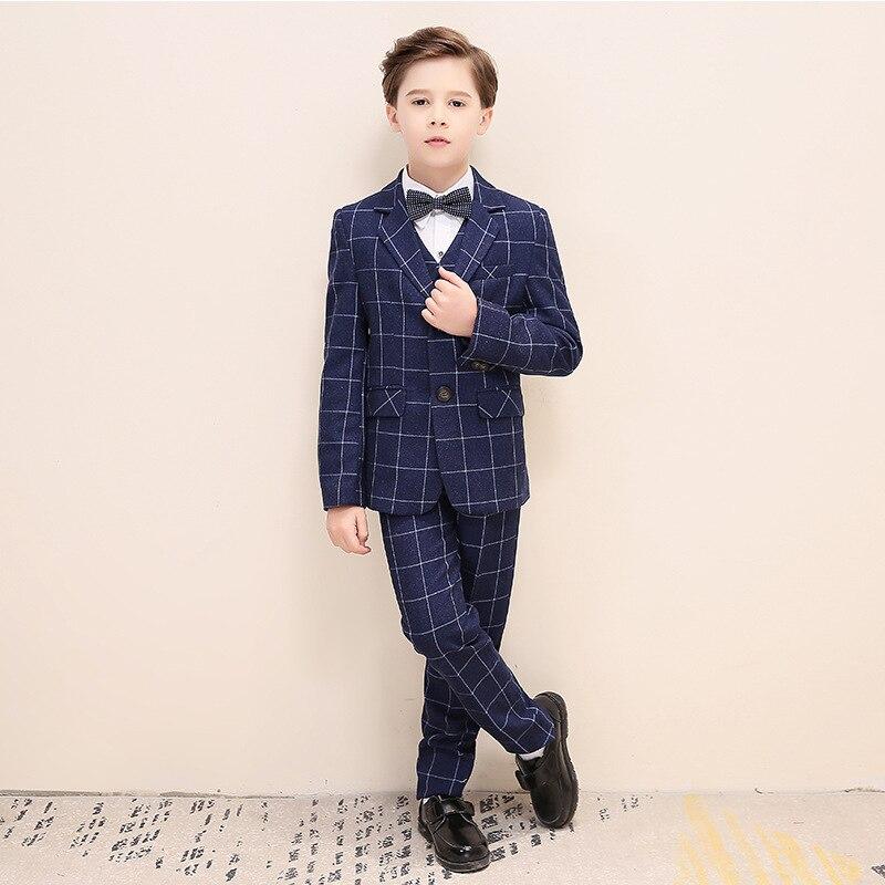 Kid's Tuxedo Boy's Suit Flower Boy's Suit Male Flower Girl Boy's Suit For Wedding Kids Prom Suits Baby Boy Suit Blue Check Suit