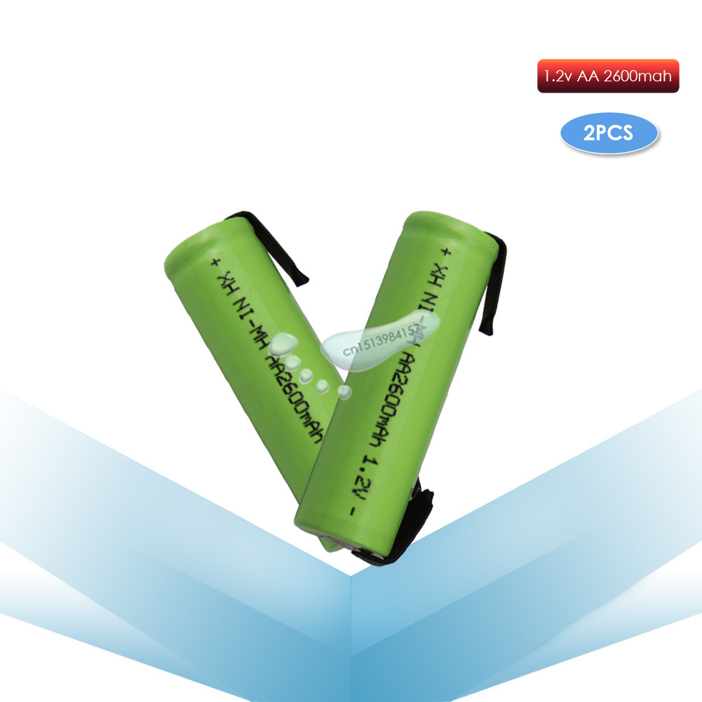 kpay 2pcs 1.2V AA 2600mah 2A ni-mh nimh rechargeable battery cell green shell with tabs pins Braun electric shaver toothbrush image