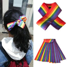 1PC NHS Key Workers Corlorful Rainbow Ribbon Stripes LGBT Pride Head Wrist Band Bowknot Headwear Ribbon Hair Styling Accessory(China)