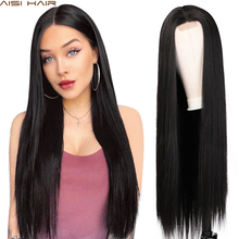 AISI HAIR Long Straight Black Wig Synthetic Wigs for Women Natural Middle Part Lace Wig Heat Resistant Fiber Natural Looking Wig