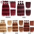 Прямые 3 пряди волос с фронтальным кружевом 13x4 красный бордовый 99J 30 бразильские Remy человеческие волосы 3 пряди с кружевом ClosureEuphoria