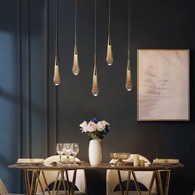 Modern Simple Villa Hotel Shopping Mall Long Crystal Pendant lamps Restaurant Bar Bedroom Living Room Warm Lamp