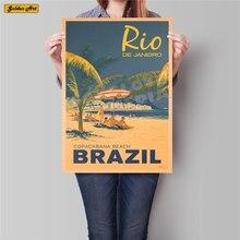 Brasil cartel de paisaje pintado a mano de dibujo para pared arte etiqueta engomada papel kraft clásico Hotel habitación decoración 42x30cm