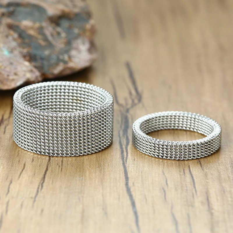 เงินสีตาข่ายแหวนสแตนเลสจัดงานแต่งงานยี่ห้อ 10 มม.4 มม.ใหม่สำหรับชายหญิง