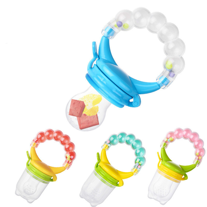 10Pcs/lot Food Nibbler Baby Pacifiers Nibbler Nipple Pacifiers For Baby Fruit Feeder Nipples Feeding Safe Pacifier Hand Bell Toy