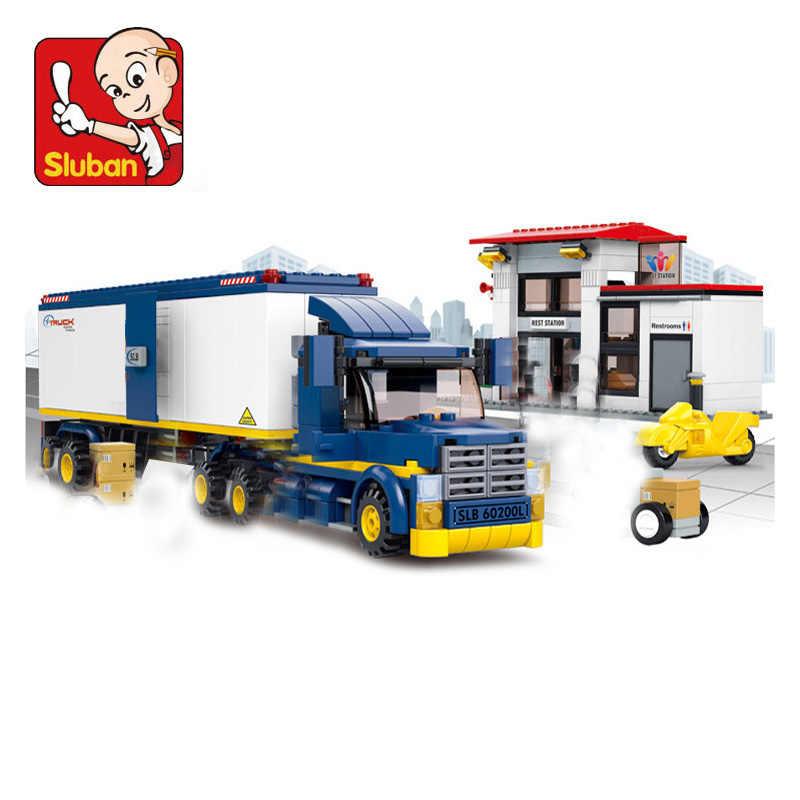 עיר רכב תואם Legoed רכב מיכל משאית קרוואן העגלה ואן משאית Dump משאית משטרת דגם אבני בניין ילדי צעצועים