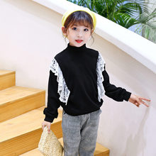 цена Sweatshirts Girls 2019 Spring Autumn Lace Black Sweatshirts School Girl Cotton Baby Girl Clothes Child Shirt Long-Sleeve Clothes