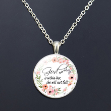 God Is Within Her ,  He Will Not Fall Bible Verse Quote Necklace Scripture Glass Cabochon Silver Pendant Christian Gift