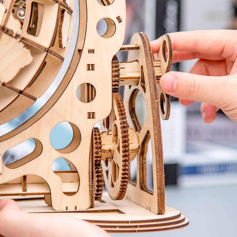 147 Uds DIY giratorio 3D globo de corte láser rompecabezas de madera juego de ensamblaje juguete para regalo para niños adolescentes adultos WT001