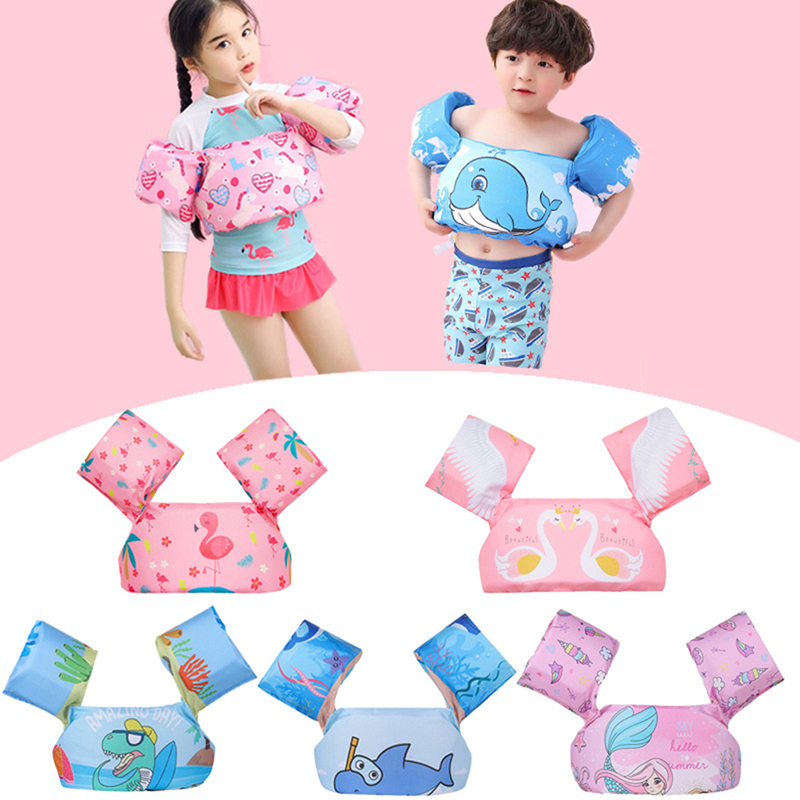 Cartoon Surfing Swimming Ring Pool Infant Kid Swimming Life Jacket Buoyancy 2-7T Baby Swimming Equipment Floating Ring Water