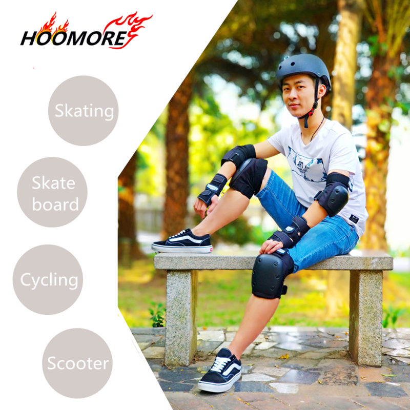 HOOMORE Branded Professional Adults Sports Safety Knee Wrist Elbow Pads Skating Skate Board Scooter Aggressive Sports Protector