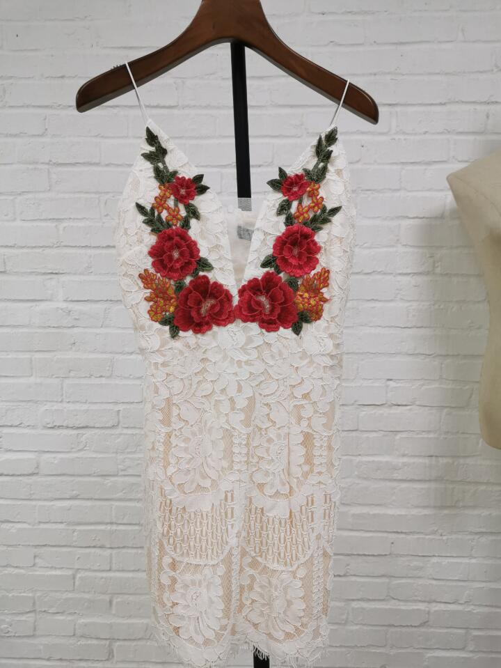Fashion 2019 Women Sexy Embroidery Flower Party Bodycon Dress Summer Strapless Deep V Neck Lace Dresses Sleeveless Mini Dress in Dresses from Women 39 s Clothing