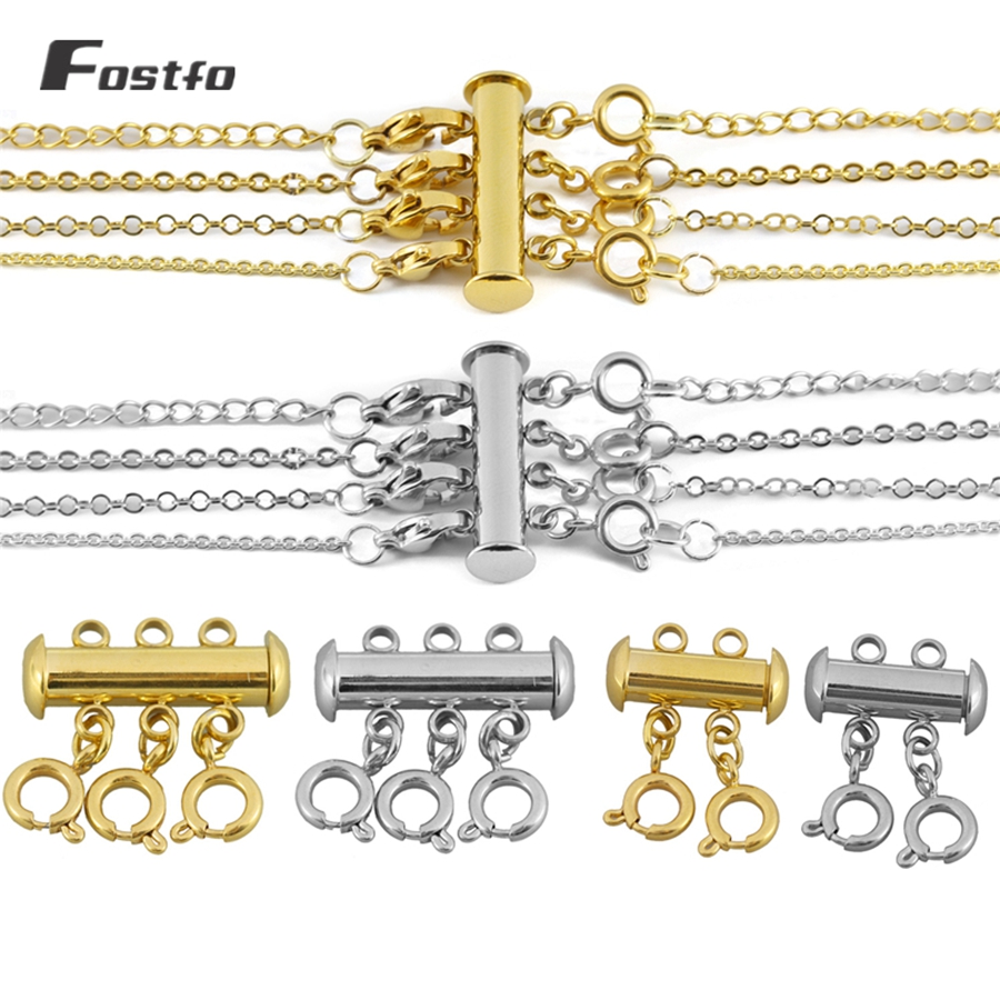 8 Pieces 4 Size Slide Clasp Lock for Layered Necklace Bracelet Connector Slide Magnetic Tube Lock Clasps-4PCS b