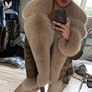 Furealux Real Fox Fur Coats with Wholeskin Sheepskin Warm Jacket Cashmere Lining Genuine Leather Jackets Natural Fur Overwear