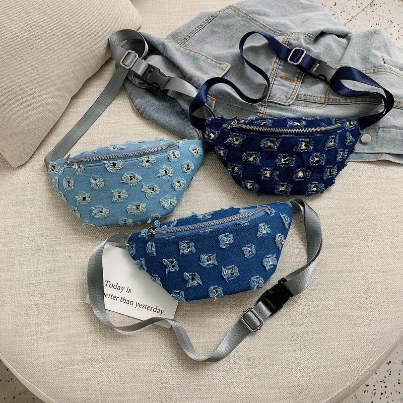 2019 Waist Bag Women Denim Chest Bag Women Fashion Bum Bag Shoulder Adjustable Banana Bags High Capacity Hip Bag Kidney Bags