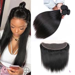 Allrun Brazilian Hair Weave Bundles With Frontal Straight Hair Bundles With Closure Human Hair Bundles With Frontal Non Remy 30'(China)
