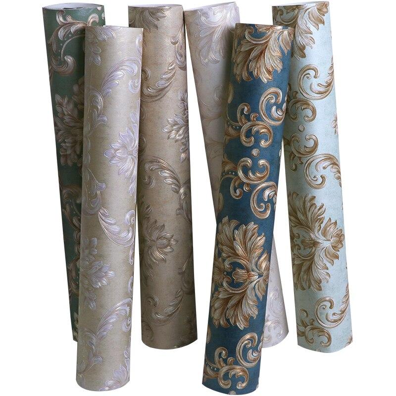 Papel tapiz de alta calidad de estilo europeo 3D, papel pintado en relieve para dormitorio, sala de estar, Fondo de televisión de Damasco de lujo, papel de pared no tejido