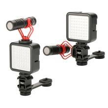 Photography Fill Light Microphone Extension Bar for Smartphone DSLR Camera Zhiyun DJI Osmo 4/Pocket Gimbal Triple Hot Shoe Mount