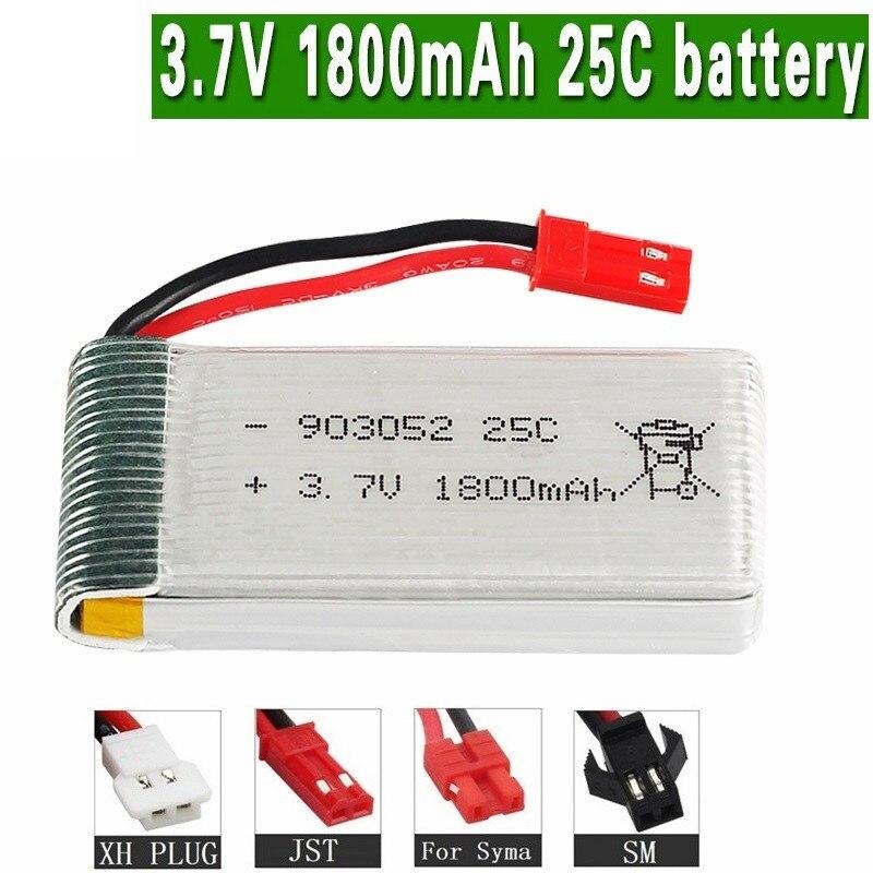 1800mAh 3 7v lipo Battery for KY601S SYMA X5 X5S X5C X5SC X5SH X5SW X5UW X5UC M18 H5P H11D H11C T64 T04 T05 F28 F29 T56 T57