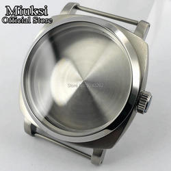 Miuksi 47mm brushed stainless steel top watch case fit ETA 6497 6498 Sea gull st36 movement mens watch case