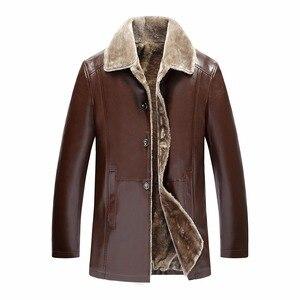 Image 5 - Winter Fur Leather Jacket Mens Plus Size 5XL Suede Leather Jackets Men Faux Fur Thick Warm Long Suede Jacket