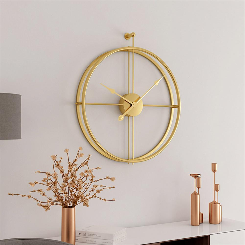 49CM Large Country Style Metal Wall Clock Double Layer Iron Frame Mute Watch For Modern Home Livingroom Hotel Decor Gifts Europ