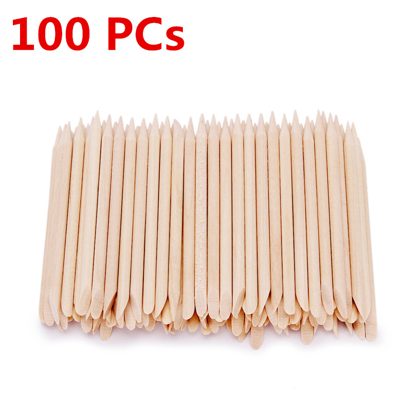 100pcs/Set Wood Stick Cuticle Remover Orange Dual-ended Nail Art Designs for Manicure Pedicure Pusher Nail Tools