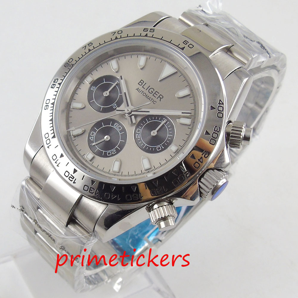 Automatic men's watch sapphire glass 39mm luxury gray dial date and week function stainless steel  strap