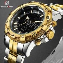 นาฬิกาข้อมือ GOLDENHOUR Mens ดิจิตอล Analog นาฬิกาแฟชั่นหรูหรากีฬากันน้ำ Two Tone สแตนเลสชายนาฬิกานาฬิกา Relogio Masculino
