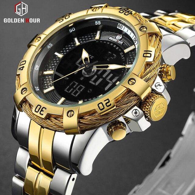 GOLDENHOUR montre numérique analogique pour hommes, montre de luxe, de luxe, de Sport, étanche, deux tons en acier inoxydable