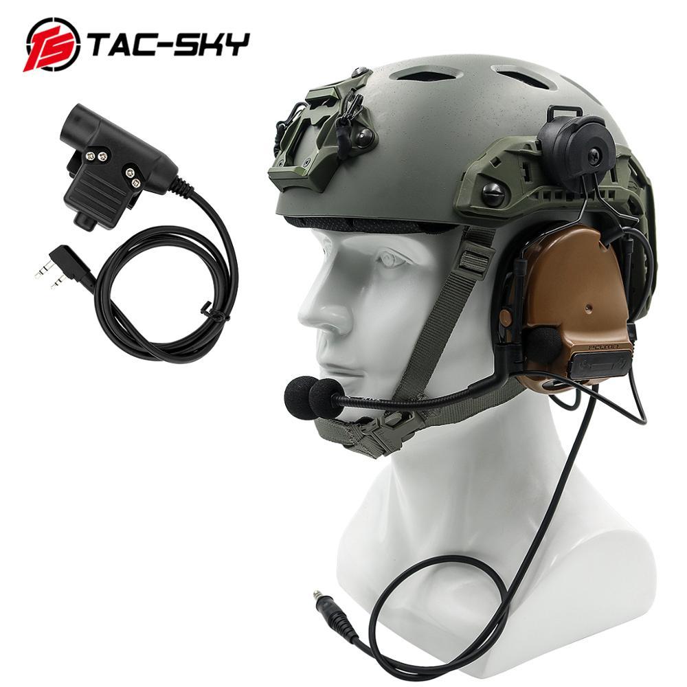TAC-SKYCOMTAC III Helmet Bracket Silicone Earmuff Version Noise Reduction Pickup Tactical Headset CB+ Walkie-talkie PTT U94PTT