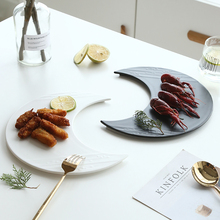 Художественный керамический полумесяц сервировочный декоративный поднос фарфор Луна обеденная тарелка, столовая посуда мусс тирамиссу шифон торт пирог суши