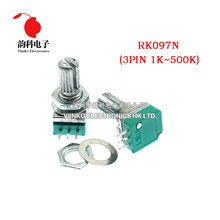50pcs RK097N 5K 10K 20K 50K 100K 500K B5K พร้อมสวิทช์เสียง 3pin เพลา 15 มม.เครื่องขยายเสียงปิดผนึก Potentiometer